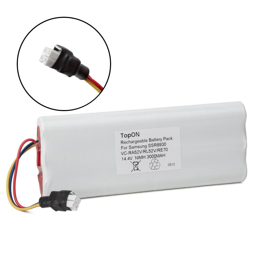 TopON TOP-SASS Аккумулятор для робота-пылесоса Samsung Tango VC-RA50VB, VC-RA52V, VC-RA84V, VC-RE70V, SSR8930. 14.4V 3000mAh Ni-MH. PN: CS-SMR840V.