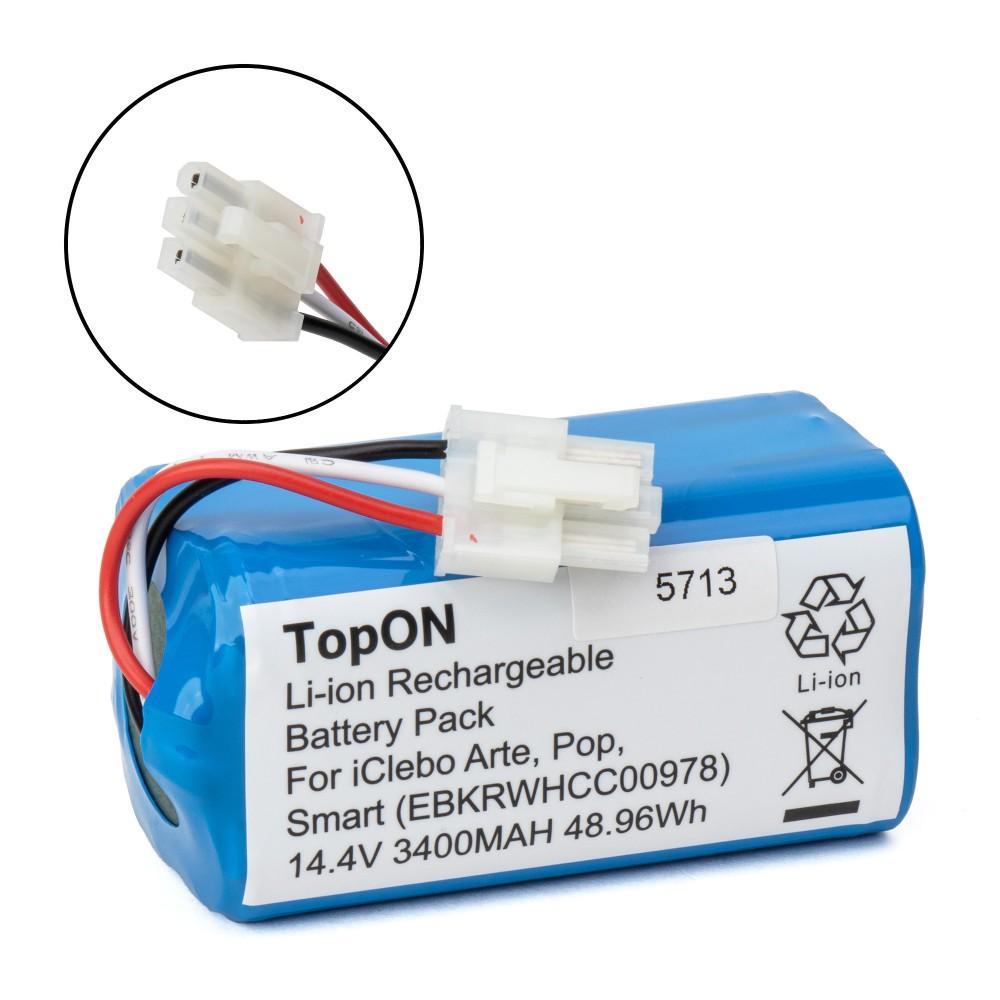 TopON TOP-ICLB05-34 Аккумулятор для робота-пылесоса iClebo Arte, Pop, Smart. 14.4V 3400mAh Li-ion. PN: EBKRWHCC00978.