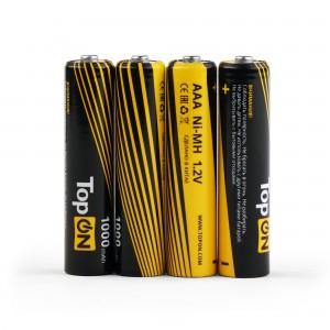 Аккумуляторные батарейки AAA TopON TOP-NH-AAA-1000-4B 1000mAh 1.2V Ni-MH HR03 4 шт в боксе