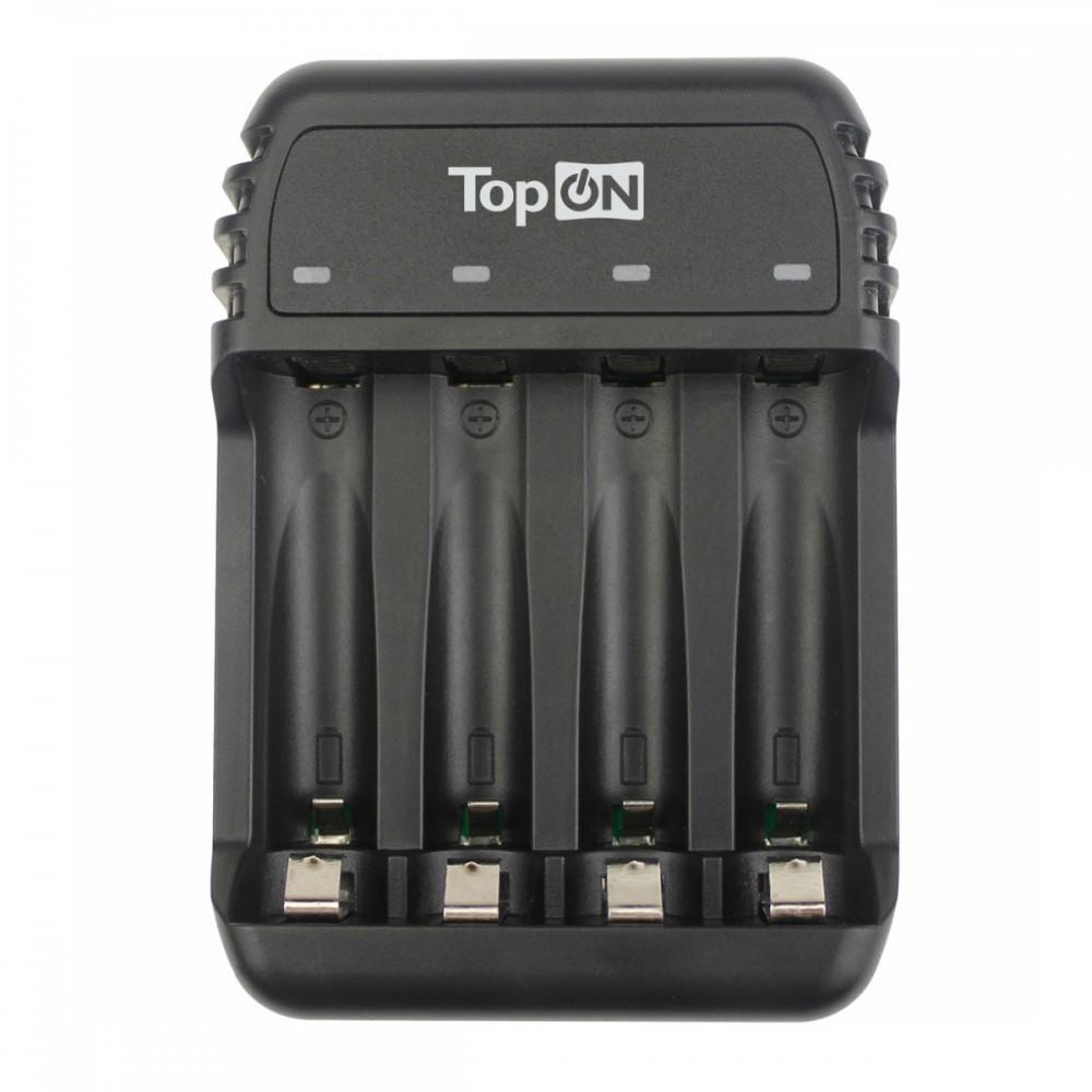 Зарядное устройство TopON TOP-CH500 для 1-4 аккумуляторов типа AA/AAA Ni-MH и Ni-Cd, LED индикатор, MicroUSB 5V, черное