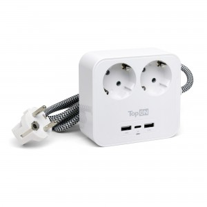 Сетевой фильтр TopON TOP-PWS2 на 2 розетки с 2 USB-A и USB-C, 4000W, 1.5 м Белый