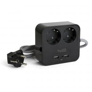 Сетевой фильтр TopON TOP-PWS2 на 2 розетки с 2 USB-A и USB-C, 4000W, 1.5 м Черный